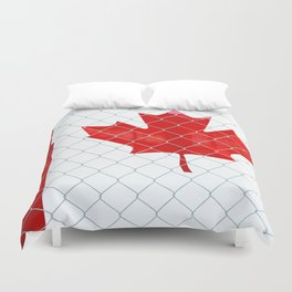 Rustic Canada Flag behind Chain Link Fence Duvet Cover