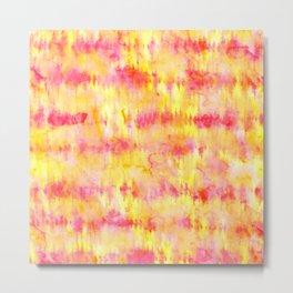 Modern bright boho pink orange tie dye watercolor stripes pattern Metal Print