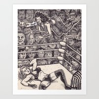 wrestling Art Prints featuring Wrestling by David Jablow