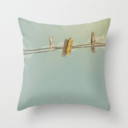 Vintage Clothespin Throw Pillow