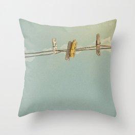 Vintage Clothespin Throw Pillow