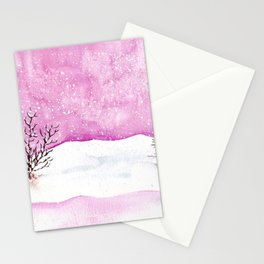 Winter Watercolor Painting Stationery Cards