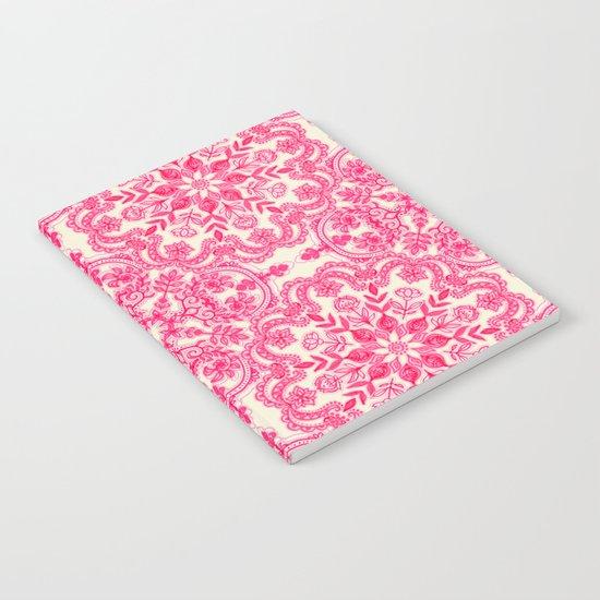 Hot Pink & Soft Cream Folk Art Pattern Notebook
