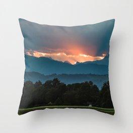 Last rays of sun before sunset Throw Pillow