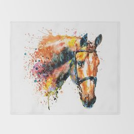 Colorful Horse Head Throw Blanket