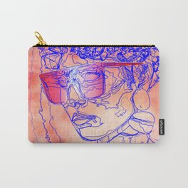 Woman Working IT 9 2 5 - Female 80's Digital Fashion Illustration on Watercolor Carry-All Pouch