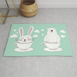 Take a Cup of Bunny Rug