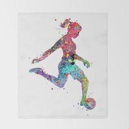 Girl Soccer Player Watercolor Print Sports Print Soccer Player Poster Decke