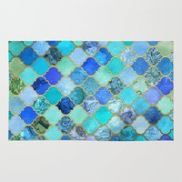 metallic Area & Throw Rugs featuring Cobalt Blue, Aqua & Gold Decorative Moroccan Tile Pattern by micklyn