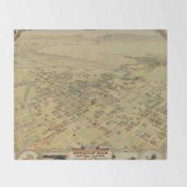 Vintage Pictorial Map of Bakersfield CA (1901) Throw Blanket