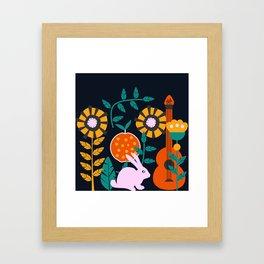 Music and a little rabbit Framed Art Print