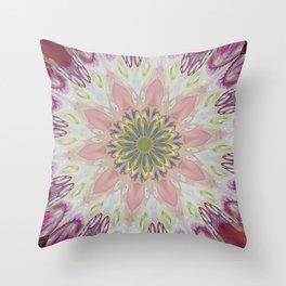 Fluid Nature - Floral Mandala In Pink Throw Pillow