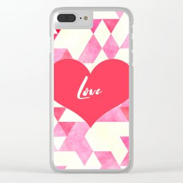 Valentine's Diamond Pattern with Love Heart Clear iPhone Case