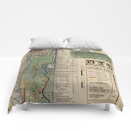 "NYC's Central Park [Vintage Inspired] ""San Remo"" Running route map Comforters"