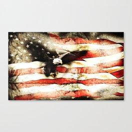 Bald Eagle Bursting Thru American Flag Canvas Print