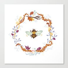 Bee with Flowers Canvas Print
