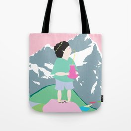 The boy and the mountain pig Tote Bag