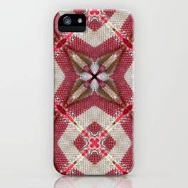 Holiday Red, Cream and Gold Burlap Plaid Pattern iPhone Case
