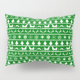 Green & White Nordic Ugly Sweater Christmas Pattern Pillow Sham