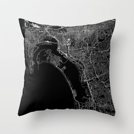 San Diego Black Map Throw Pillow