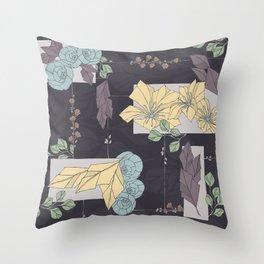 Flower Fracas Puple Throw Pillow