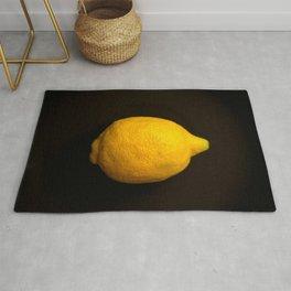 Yellow Lemon On A Black Background #decor #society6 Rug