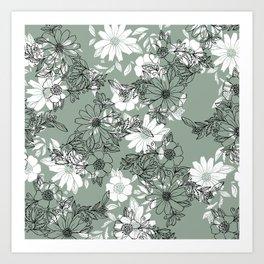 Vintage green black white hand drawn floral Art Print