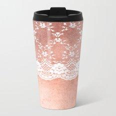 White floral luxury lace on pink rosegold grunge backround Metal Travel Mug