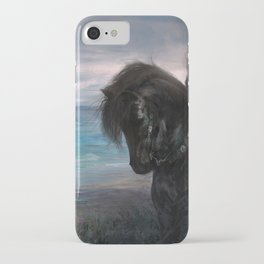 Knight on black Friesian horse iPhone Case
