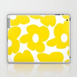 Large Yellow Retro Flowers on White Background #decor #society6 #buyart Laptop & iPad Skin