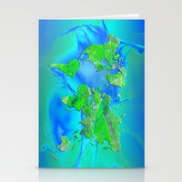 map of the world Stationery Cards featuring World Map by Roger Wedegis