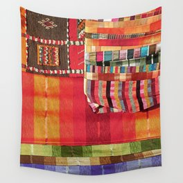 V27 Multi Colored Traditional Moroccan Lovely Textile Texture. Wall Tapestry