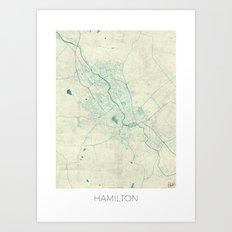 Hamilton Map Blue Vintage Art Print
