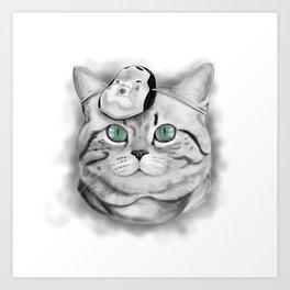 noh cat Art Print