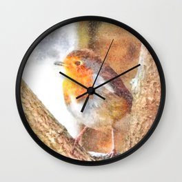 Artistic Robin Redbreast Perched Between Bare Branches Watercolor Wall Clock