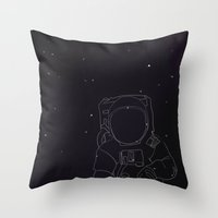 spaceman Throw Pillows featuring Spaceman by Julianne Ess