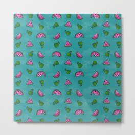 Watermelon, Cactus, Repeat, Pattern, Summer Metal Print