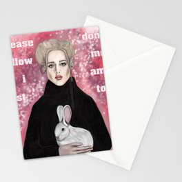girl and rabbit Stationery Cards