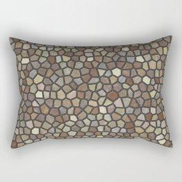 Faux Stone Mosaic in Brown Rectangular Pillow