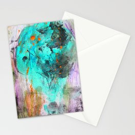 Hand painted teal orange black watercolor Stationery Cards