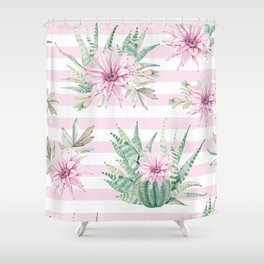 Simply Striped Cactus Desert Rose Pink Shower Curtain