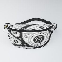 Black And White Paisley Fanny Pack