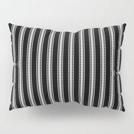 Black and White French Fleur de Lis in Mattress Ticking Stripe Pillow Sham