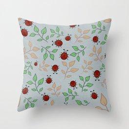 Lady Bug Leaf Pattern Art Throw Pillow