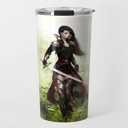 Lady knight - Warrior girl with sword concept art Travel Mug