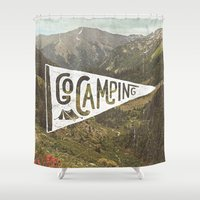 camping Shower Curtains featuring Go Camping by cabin supply co