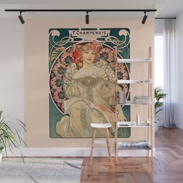 Mucha Daydream Art Nouveau Edwardian Woman Floral Portrait Wall Mural