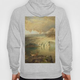 Fjord Landscape with Glacier and Reindeer Hoody