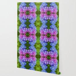 BLUE & PINK HYDRANGEAS GARDEN ABSTRACT FLORAL Wallpaper