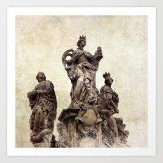 Statue on Charles Bridge in Prague Art Print